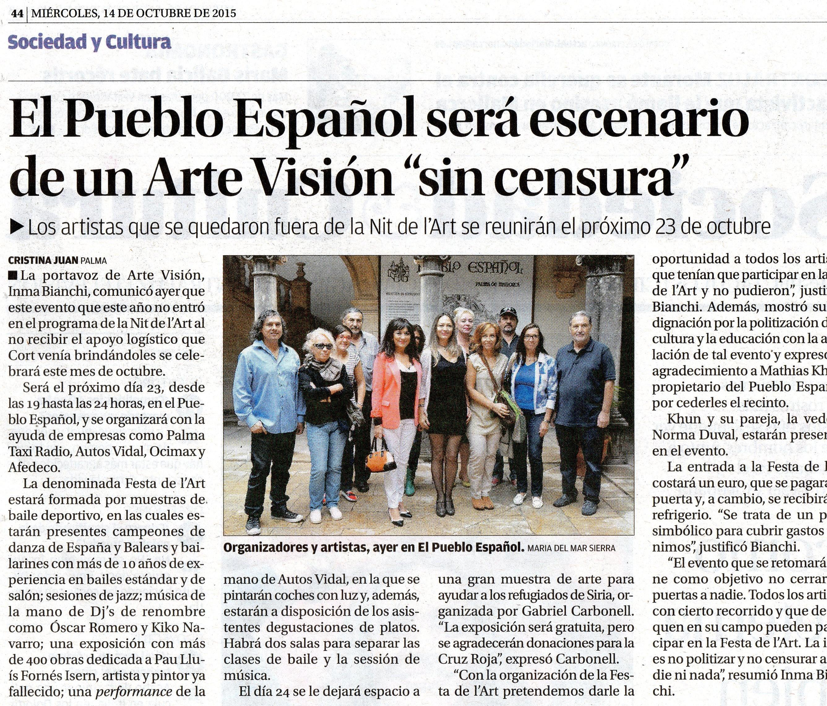 Arte Visión celebra la Nit de L´Art en el Pueblo Español